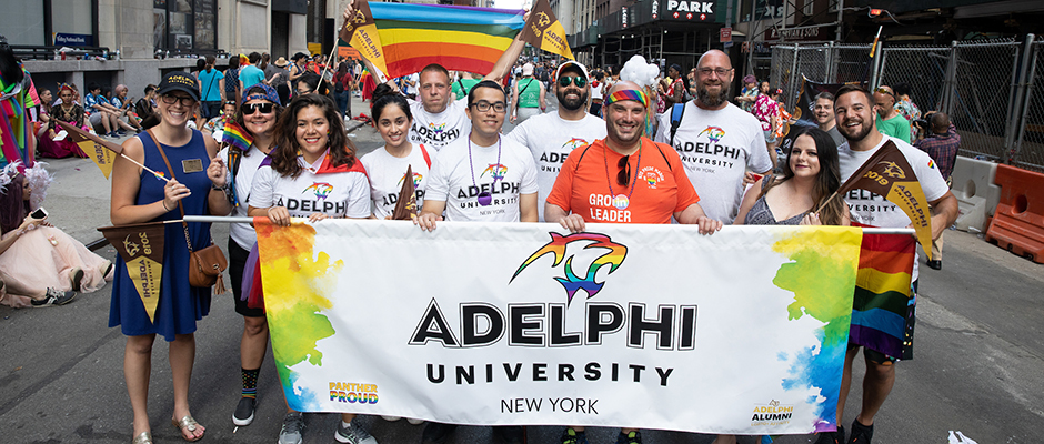 Members of Adelphi University at the WorldPride NYC Parade.